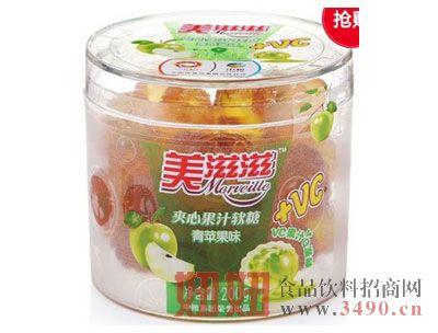 美滋滋青苹果味夹心果汁软糖(罐装200g)