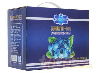 银滩大拇指蓝莓果粒果汁饮料(8瓶蓝箱侧面)