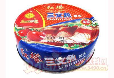 圣诺红塔牌三文鱼罐头178克番茄