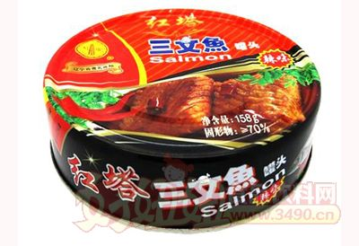 圣诺红塔牌三文鱼罐头158克辣味