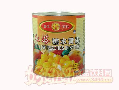 圣诺红塔糖水黄桃罐头丁状3000克