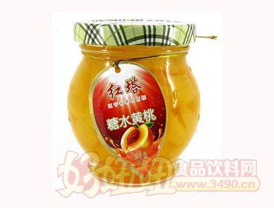 圣诺红塔牌糖水黄桃罐头200克