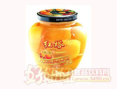 圣诺红塔牌糖水黄桃罐头560克