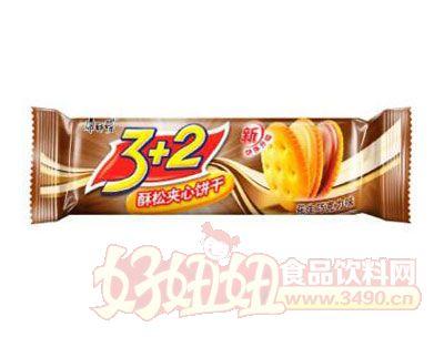 康师傅3+2酥松夹心饼干花生巧克力味