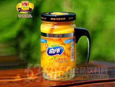 奇伟600g黄桃带把罐头