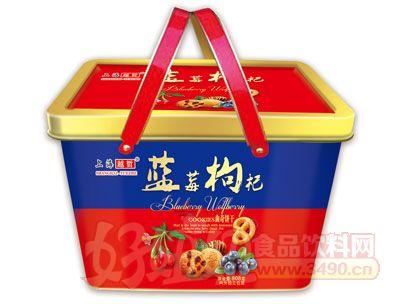 上海越哲蓝莓枸杞曲奇饼干808g铁盒装