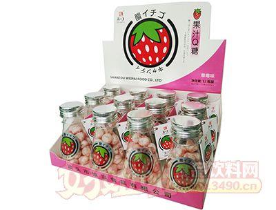 清一口果汁Q糖-56g×12小瓶×12彩盒草莓味