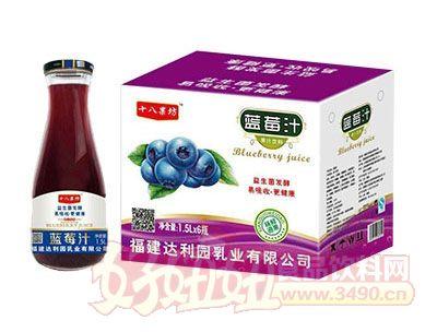 十八果坊蓝莓汁饮料1.5L×6瓶(大口瓶)