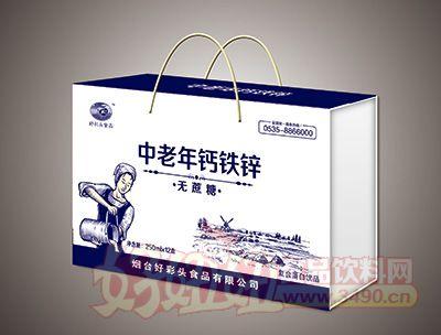 烟台好彩头中老年钙铁锌精裱盒饮品250MLx12盒