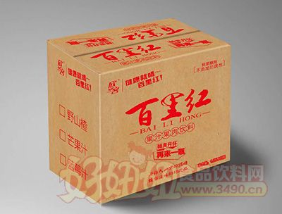 欣客百里红果汁果肉饮料1.25升x6瓶