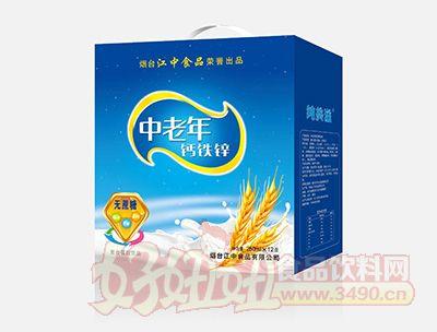 烟台江中中老年钙铁锌无蔗糖饮品250mlx12盒蓝