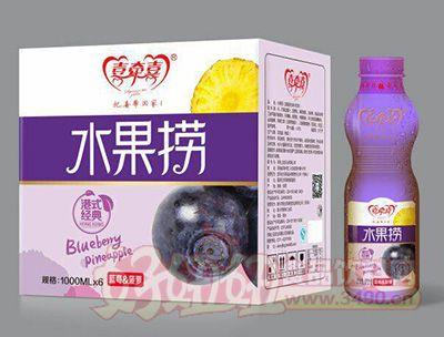 喜牵喜水果捞蓝莓菠萝饮品1000mlx6瓶