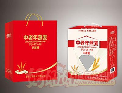 烟台江中中老年燕麦钙铁锌饮品250mlx12盒礼盒