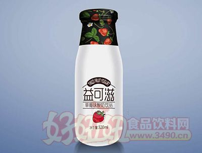 益可滋玻璃瓶草莓味酸奶�品320ml