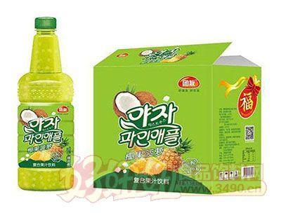 团友椰果菠萝果汁饮料1.5L×6瓶