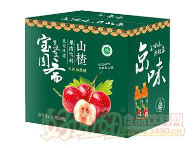 宝圆斋无蔗糖京味山楂果肉饮料1L×6瓶