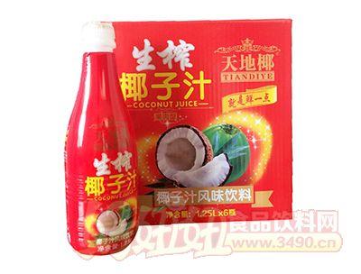 天地椰生榨椰子汁风味饮料1.25L×6瓶