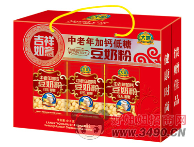 大地吉祥如意中老年加钙低糖豆奶粉618g