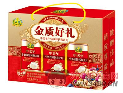大地金质好礼中老年牛奶铁锌钙燕麦片618g