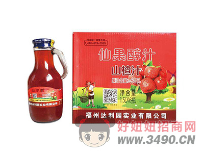 达利园实业鲜果醇汁山楂汁饮品1.5LX6瓶