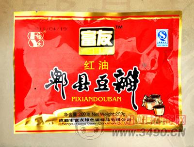 富友红油郫县豆瓣酱200g