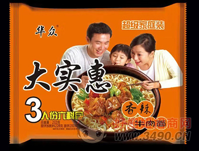 华众大实惠香辣牛肉面232g
