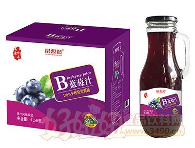 常想知蓝莓汁1L×6瓶(手柄玻璃瓶)