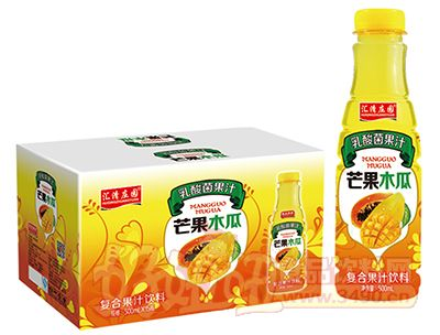 汇清庄园乳酸菌芒果木瓜复合果汁饮料500ml×15瓶