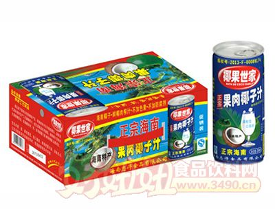 椰果世家果肉椰子汁245mlx20