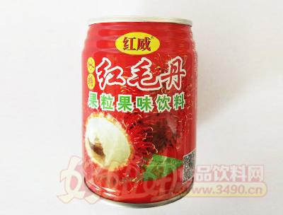红威冰糖红毛丹果粒果味饮料罐装