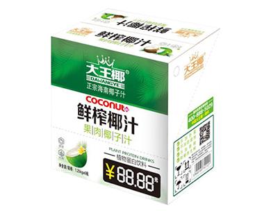 大王椰鲜榨椰汁果肉椰子汁1.25kg×6瓶