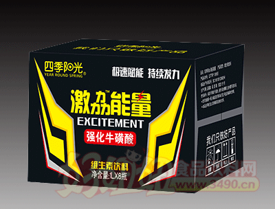 四季阳光 激�的芰� 强化牛磺酸维生素饮料 1L×8瓶