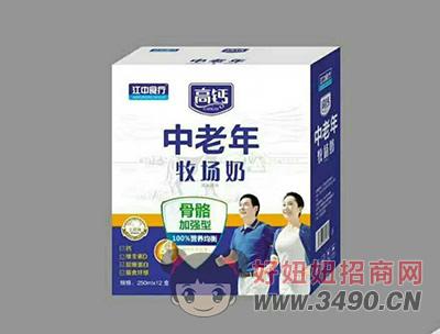 江中食疗中老年牧场奶骨骼加强型250mlX12盒