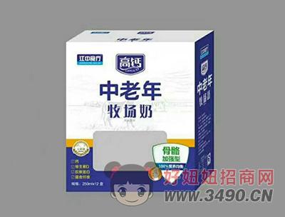 江中食疗中老年牧场奶250mlX12盒