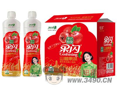 优洋果闪山楂果茶复合果肉果汁饮料1.28L×6瓶