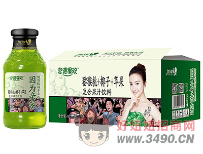 优洋宴遇果欢猕猴桃+椰子+苹果复合果汁饮料400ml×15瓶