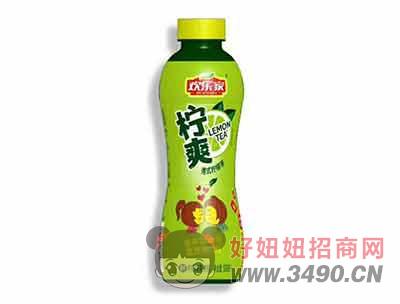 欢乐家柠爽港式柠檬味茶饮料500ml(绿)