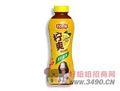 欢乐家真茶真柠檬柠爽港式柠檬味茶饮料500ml(黄)