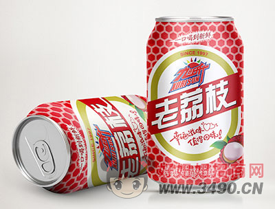 旭日升荔枝果味碳酸饮料罐装