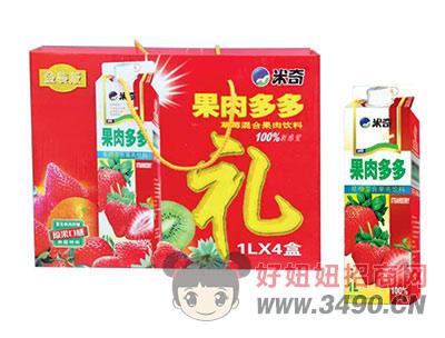 米奇果肉多多草莓混合果肉�料1LX4盒