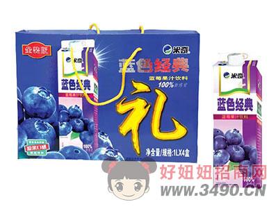 米奇果肉多多蓝莓混合果汁饮料1LX4盒