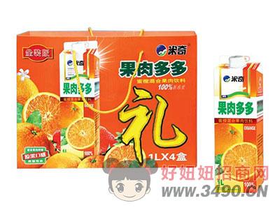 米奇果肉多多蜜橙混合果肉�料1LX4盒