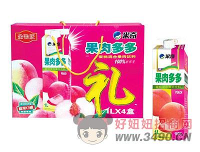 米奇果肉多多蜜桃混合果汁�料1LX4盒
