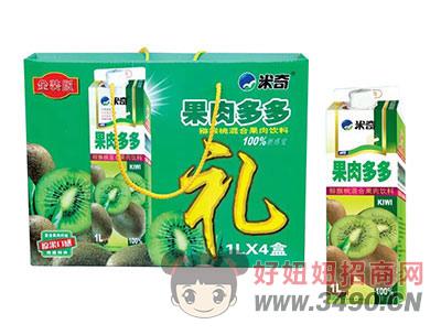 米奇果肉多多猕猴桃混合果汁饮料1L×4盒