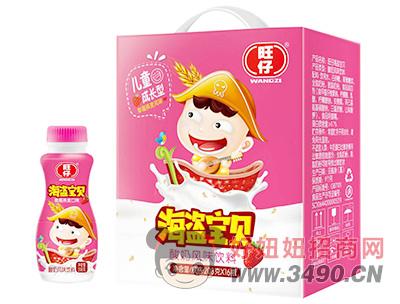 旺仔海盗宝贝草莓燕麦味酸奶饮料208g×16瓶
