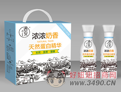 遇安浓浓奶香天然蛋白精华果肉型原味酸奶饮品1L×6瓶