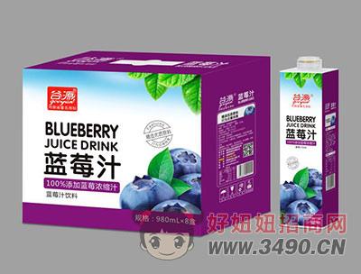 谷源蓝莓汁980ml