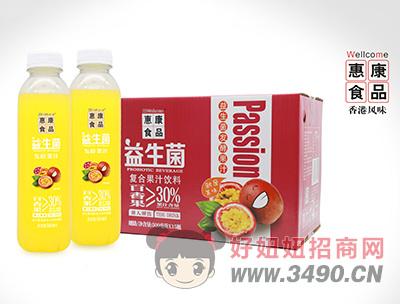 惠康益生菌发酵复合百香果汁饮料500ml×15瓶