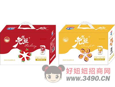 元气益+草莓风味和百香果风味牛奶180ml×12袋