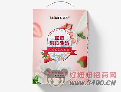 迈芙草莓果粒酸奶300ml+10ml